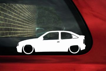 2x LOW Vauxhall mk2 Astra GSi - Opel Kadett E silhouette stickers, Decals